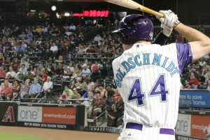 Paul Goldschmidt stands in the on-deck circle in game vs. Colorado Rockies, Thursday, October 1, 2015.(Cronkite News/Torrence Dunham)
